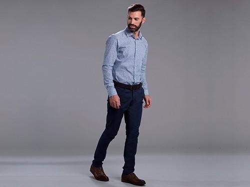 Pantalón Sport de Gabardina Lisa Elastizado Slim Fit