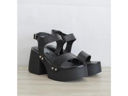 Sandalia mujer cuero color negro taco de 9 cm y plataforma goma Eva