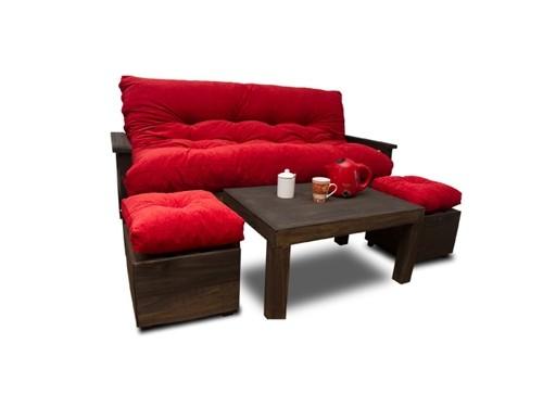Futón de 3 cuerpos tapizado en chenille + mesa y 2 puff