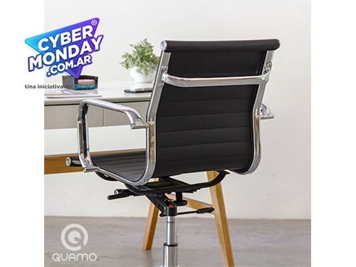 Silla de escritorio cromada Alumina tapizada eco-cuero | QUAMO