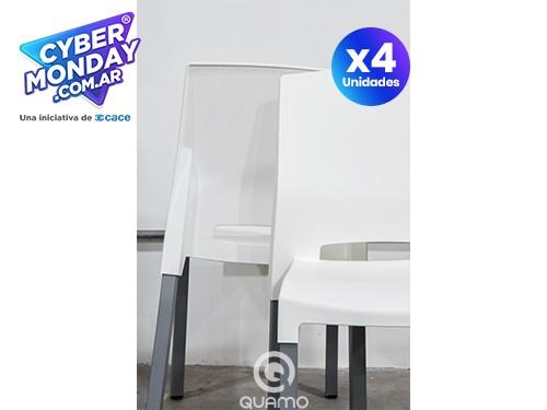 Sillas Apilable de plástico Quadra Blanca PACK x4   | QUAMO
