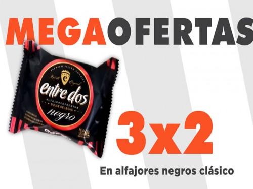 3x2 Alfajor de chocolate negro con dulce de leche