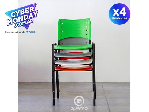 PACK x4 | Silla Apilable Patas Metálica KUDO | Varios Colores
