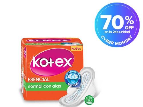 Toallas Higiénicas Kotex Esencial Nomal con Alas x 8 u