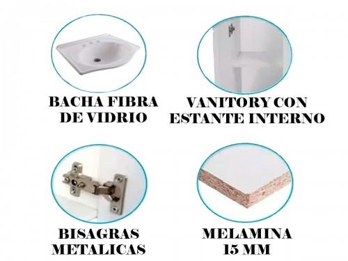 Vanitory Laqueado Mdf 60cm Cajones Patas Antihumedad Bacha