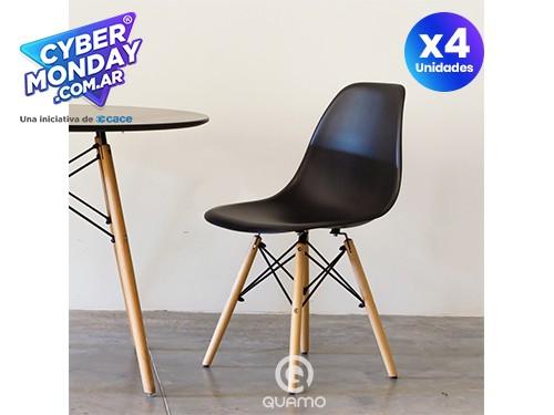 Silla Eames PACK x4 Negra Comedor Diseño | QUAMO
