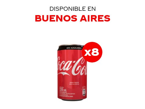 Coca-Cola Sin Azúcar 220 ml Pack x8
