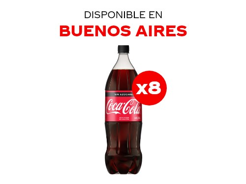 Coca-Cola Sin Azúcar 2.25 lts Pack x8