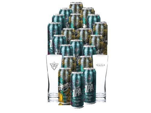 Pack 20 Cervezas Temple Con Vasos