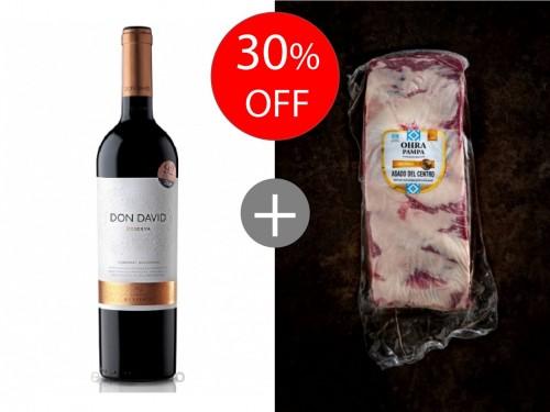 Combo 1 vino Don David Reserva x 750ML + 1kg asado Ohra Pampa