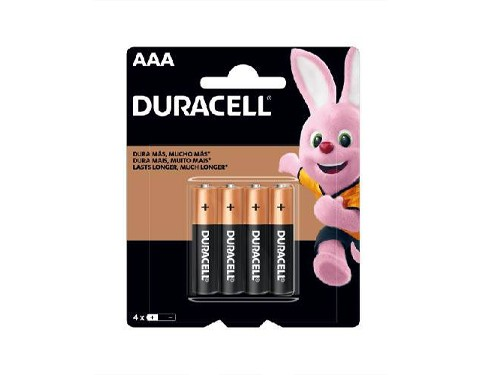 Pilas Alcalinas Duracell AAA - Blister x 4 unidades.