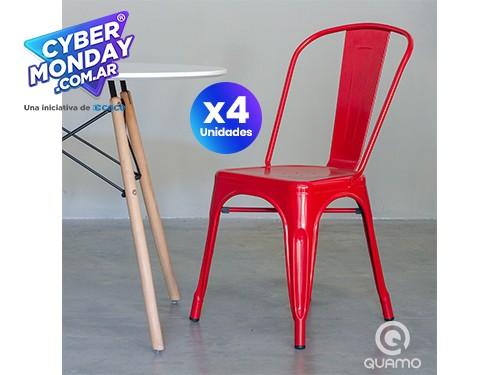 PACK x4 |Silla Tolix Roja Reforzada Metal Comedor Diseño | QUAMO