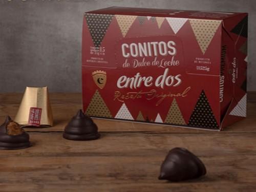 15% descuento Caja 15 conitos de chocolate negro con dulce de leche