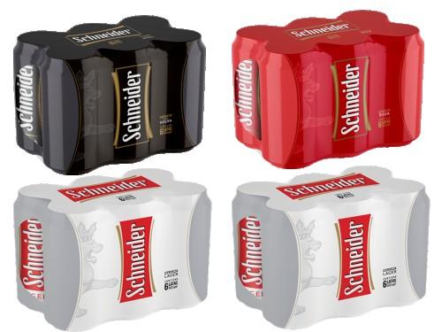 Cerveza Schneider Pack x 24 latas 473cc (12 lager 6 rojas y 6 negras)