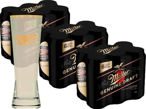 Cerveza Miller x 18 latas + 1 vaso 330cc (importado)
