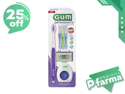 GUM Kit de Ortodoncia: Cepillo + Interdental + Hilo + Cera