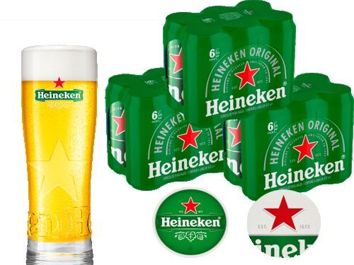 Cerveza Heineken x 18 latas 473cc + 1 Vaso 250cc + 2 posa vasos