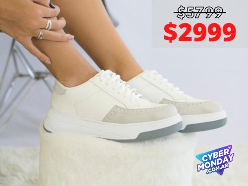 Zapatilla De Mujer Nuova Blanco Gris Araquina