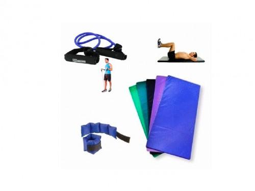 Set Gym. Colchoneta + Par de tobilleras + Banda elástica con manijas