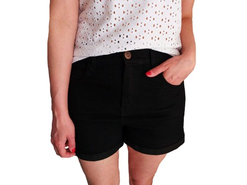 Short Liso Blanco Negro Elastizado Tiro Alto