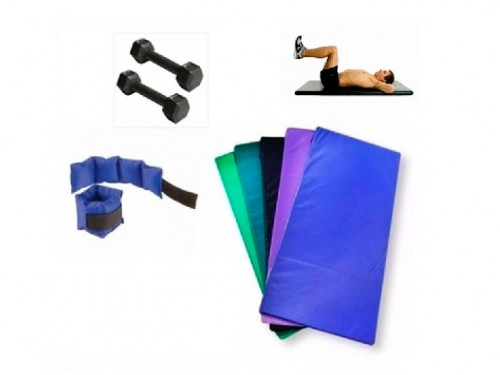 Set Gym. Colchoneta + Par mancuernas + Par tobilleras