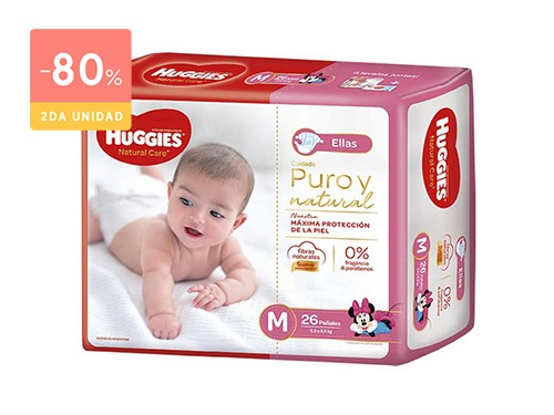 HUGGIES PAÑALES NATURAL CARE ELLAS TALLE M