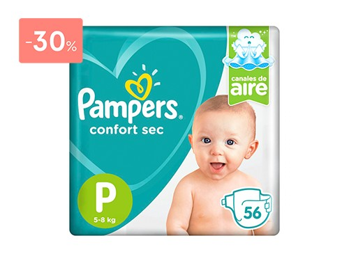 PAMPERS PAÑALES CONFORT SEC PODS TALLE P