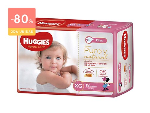 HUGGIES PAÑALES NATURAL CARE ELLAS TALLE XG