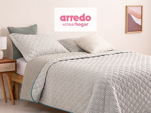 Cubrecama Queen Size Reversible Extra Suave Square