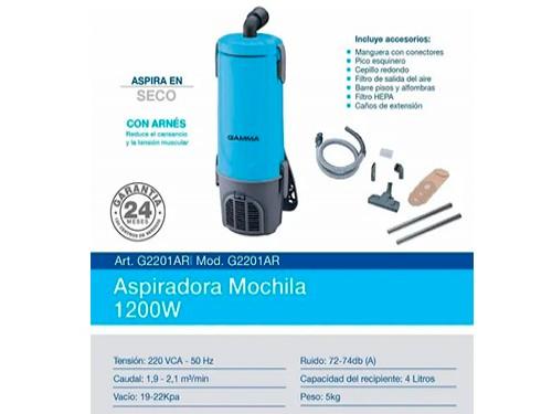 Aspiradora De Mochila Gamma 4lts En Seco 1200w Portatil