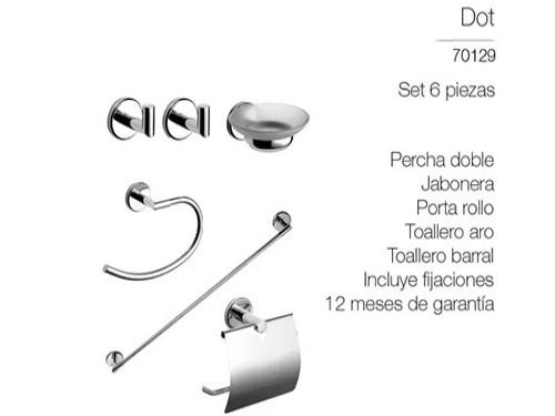 Kit Accesorio Baño Piazza Dot Set 6 Piezas Toallero Metal