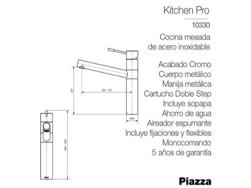 Grifería Cocina Piazza Kitchen Pro Canilla Metalica Cromada