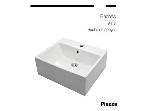 Bacha Ceramica Piazza Cuadrada Blanca Baño Apoyar Loza Mesa