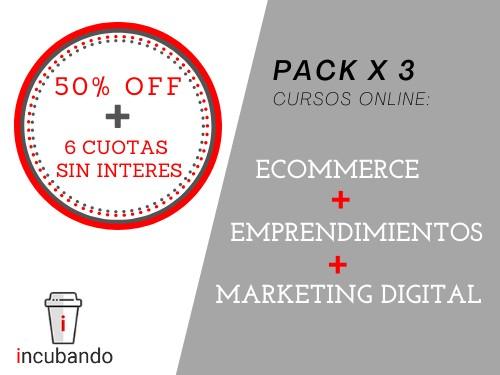 PACK 3 CURSOS: Marketing Digital + Ecommerce + Emprendimientos ⭐️50%