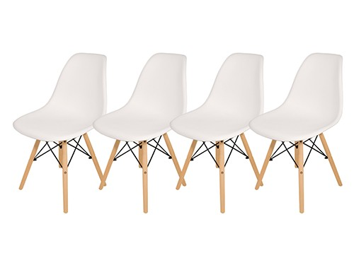 Sillas X 4 Comedor Eames Plástico Patas Madera Cuotas