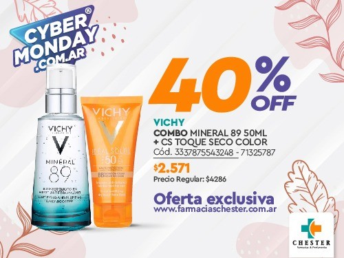 VICHY COMBO MINERAL 89 50ML + CS TOQUE SECO COLOR
