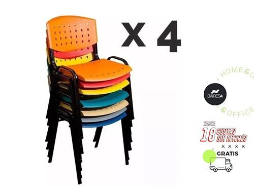 Pack x 4 Sillas Fijas Apilables BAIRES4