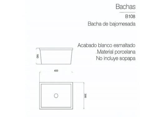 Lavatorio Bacha Piazza Baño Bajo Mesada Pileta Rectangular 4/5