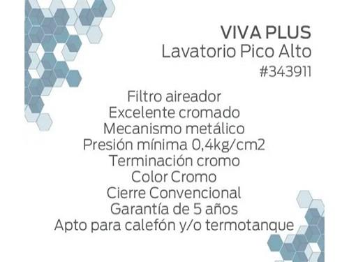 Grifería Canilla Hydros Pico Alto Baño De Metal Lavatorio 4/4