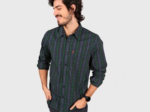 Camisa Azul Levi's Classic One Pocket - Pine Grove-Blue Plaid