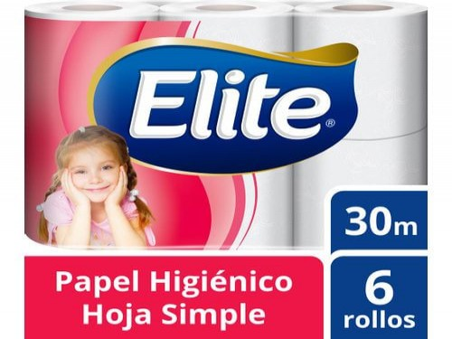 PAPEL HIGIÉNICO ELITE EXTRA HOJA SIMPLE 30 M - 6 ROLLOS