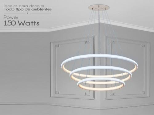 Lampara Led Diseño Elegante Colgante 150w Luz Mixta