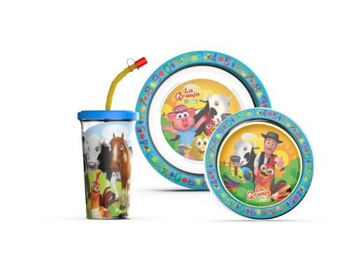 Set Promoción Canciones de la granja: Plato + Vaso Sport + Bowl