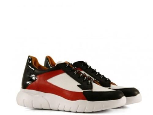 Zapatillas urbanas de cuero en negro/blanco/rojo