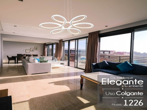 Lampara Led Diseño Elegante Colgante 120w Calida /fria Mixta