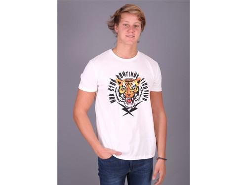 Remera hombre manga corta blanca o amarilla con estampa de tigre