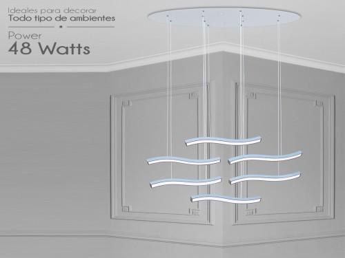 Lampara Diseño Elegante Colgante Led 48w Calida / Fria Led