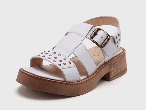 Sandalia de Cuero Blanca Viamo Linaria