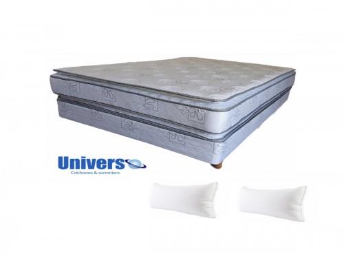 Combo Infinit Pillow 140x190 + Sommier +2 Almohadas de fibra