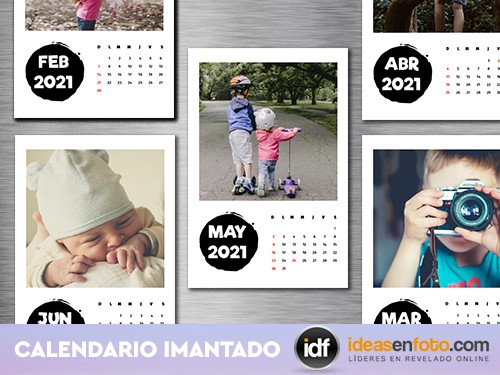 Calendario 12 meses individuales imantados. Personalizado con tus foto
